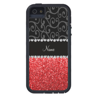 Personalized name black swirls red glitter case for iPhone 5
