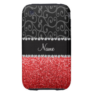 Personalized name black swirls red glitter tough iPhone 3 cover