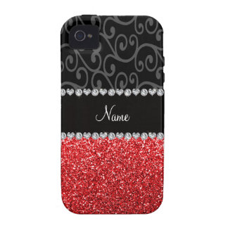 Personalized name black swirls red glitter iPhone 4 covers