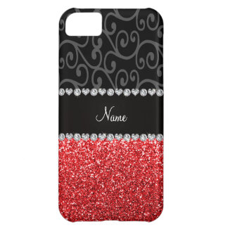 Personalized name black swirls red glitter cover for iPhone 5C