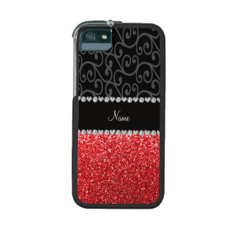Personalized name black swirls red glitter iPhone 5/5S covers