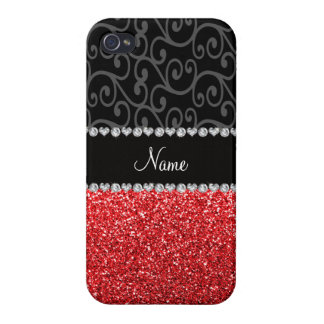 Personalized name black swirls red glitter iPhone 4 cover