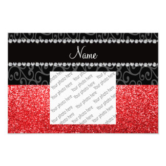 Personalized name black swirls red glitter photo print