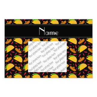 Personalized name black tacos sombreros chilis photo print