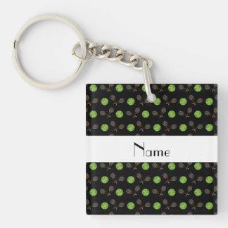 Personalized name black tennis balls keychain