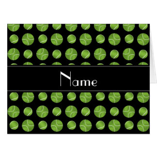 Personalized name black tennis balls pattern card