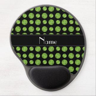 Personalized name black tennis balls pattern gel mouse pad