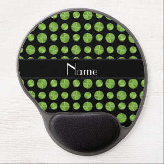 Personalized name black tennis balls pattern gel mouse mat