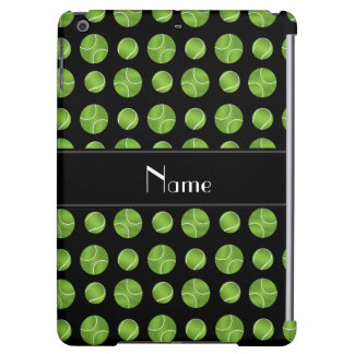 Personalized name black tennis balls pattern iPad air covers