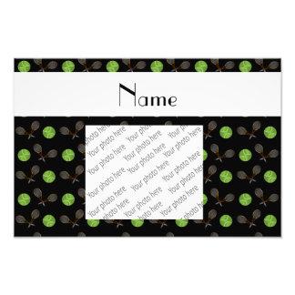 Personalized name black tennis balls photo