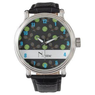 Personalized name black tennis balls wrist watch