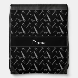 Personalized name black tools pattern drawstring backpack
