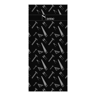 Personalized name black tools pattern rack card