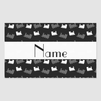 Personalized name black train pattern rectangular stickers