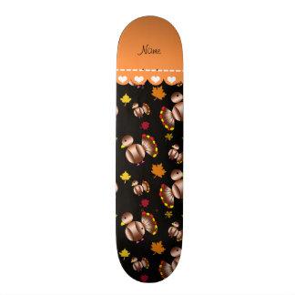 Personalized name black turkey's leaves skateboard decks