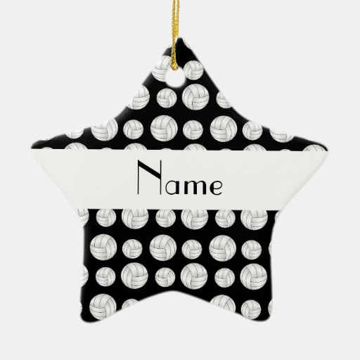Personalized name black volleyball balls ornaments