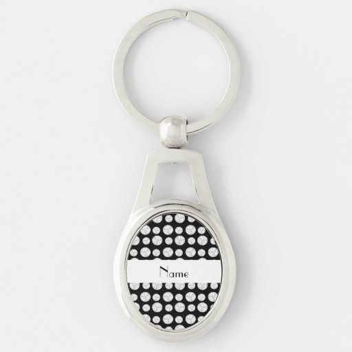 Personalized name black volleyball balls key chains