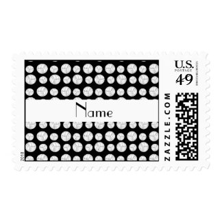 Personalized name black volleyball balls postage stamp