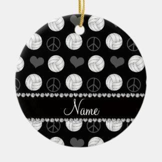 Personalized name black volleyballs peace hearts ceramic ornament