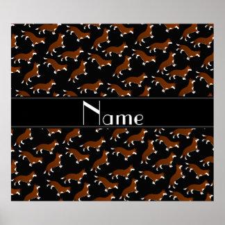 Personalized name black welsh corgi cardigan dogs poster