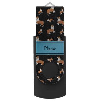 Personalized name black Welsh corgi pembroke dogs USB Flash Drive