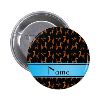 Personalized name black Welsh Terrier dogs 2 Inch Round Button