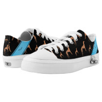 Personalized name black Whippet dogs Low-Top Sneakers