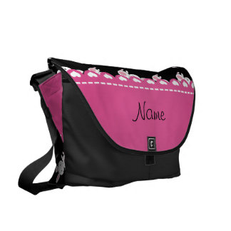 Personalized name black white bunnies pink stripe messenger bags