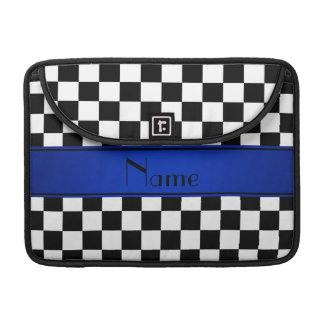 Personalized name Black white checkers blue stripe MacBook Pro Sleeve