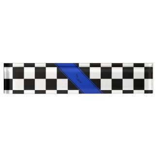 Personalized name Black white checkers blue stripe Name Plate