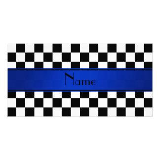 Personalized name Black white checkers blue stripe Photo Greeting Card