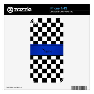 Personalized name Black white checkers blue stripe Decals For The iPhone 4