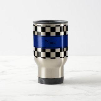 Personalized name Black white checkers blue stripe Travel Mug