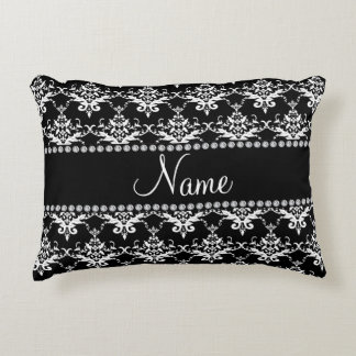 Personalized name black white damask decorative pillow