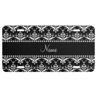Personalized name black white damask license plate