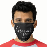 Personalized name black white groomsmen face mask