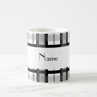 Personalized name black white plaid white stripe coffee mug