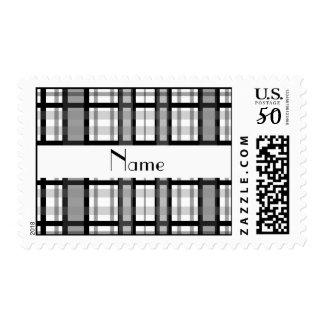 Personalized name black white plaid white stripe postage