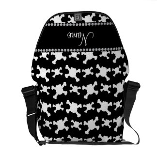 Personalized name black white skulls pattern courier bags
