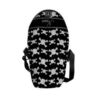 Personalized name black white skulls pattern courier bag