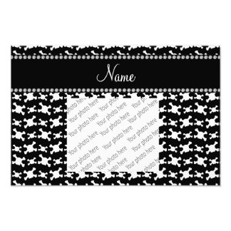 Personalized name black white skulls pattern photo