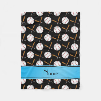 Personalized name black wooden bats baseballs fleece blanket