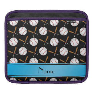 Personalized name black wooden bats baseballs sleeve for iPads
