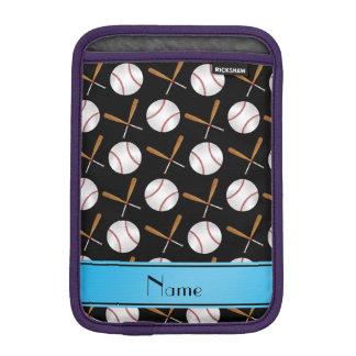 Personalized name black wooden bats baseballs iPad mini sleeve