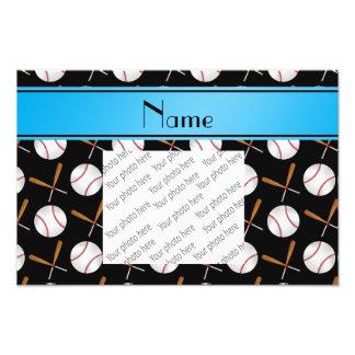 Personalized name black wooden bats baseballs photo print