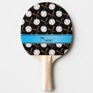 Personalized name black wooden bats baseballs Ping-Pong paddle