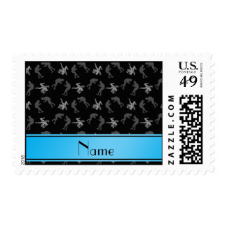 Personalized name black wrestlers postage