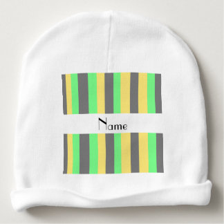 Personalized name Black yellow green stripes Baby Beanie