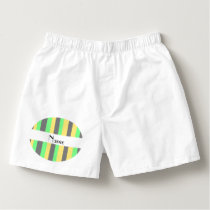 Personalized name Black yellow green stripes Boxers