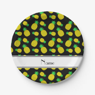 Personalized name black yellow pineapples paper plate